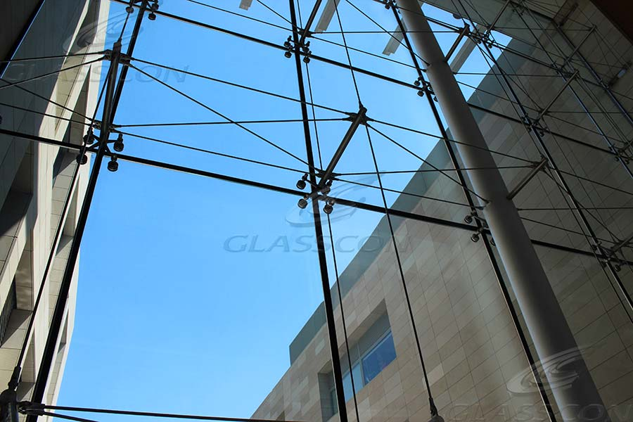 Spider Curtain Wall : Glasscon spider glass curtain wall with prestressed