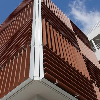 Corten Honeycomb Motorized Louvers
