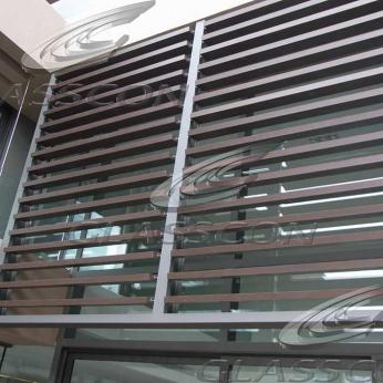 Timber & HPL Motorized Louvers - Wooden Solar Shades