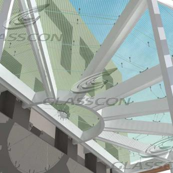 Suspended Glass Canopies in USA Embassy Building