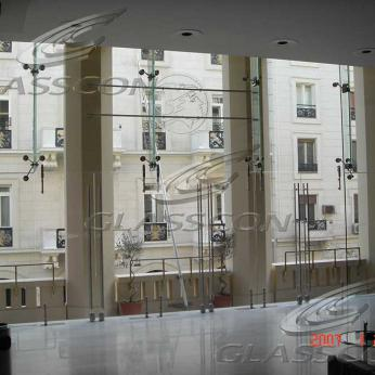 Low Iron Extra Clear Spider Glass Fins Curtain Wall